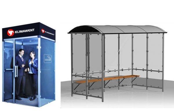 Rūkymo kabinos, pastogės ir įranga rūkymo patalpoms