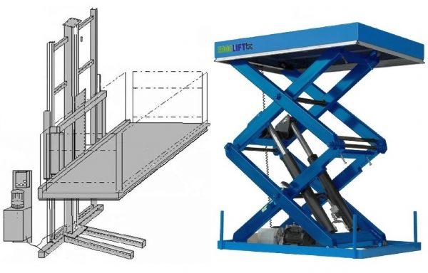 Prekių ir krovinių platforminiai keltuvai