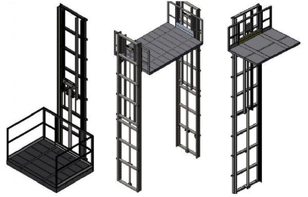 Krovininiai, koloniniai, elektrohidrauliniai keltuvai-liftai